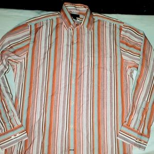 EXPRESS L colorful fall colors striped dress shirt